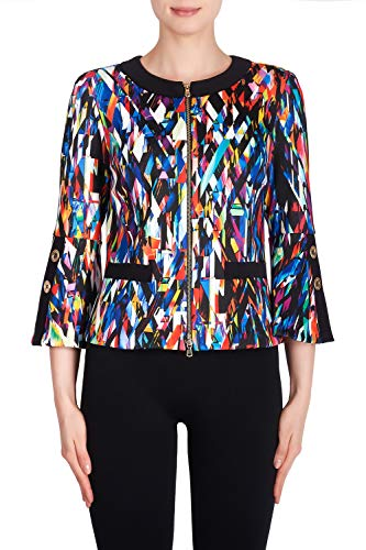 Joseph Ribkoff Blue/Multi/Black Jacket Style 191726 - Multicolored - Small