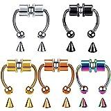 5 piezas anillo de nariz de acero inoxidable magnético herradura sin joyería piercing anillo de nariz falso tabique magnético anillos de...