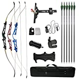 AMEYXGS 66/68/70inch Recurve Bow and Arrow Set,Takedown Bow Draw Weight 12-40 Lbs for Archery Target Practice or Hunting-RightHand (Red 68-inch, 14 lbs)