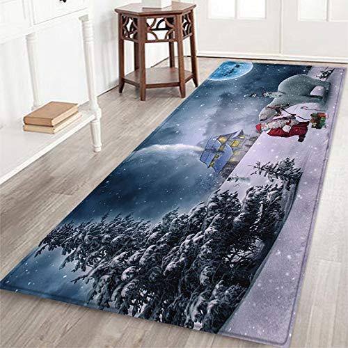Qhome Xmas Area Teppiche Teppich Läufer Warm Soft Frohe Weihnachten Weihnachtsmann Willkommen Fußmatten Verdickte rutschfeste Teppichpolster für Eingangs Wohnzimmer Schlafzimmer Badezimmermatten