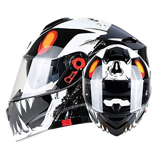 FLHWAN Motorrad Integralhelm, Double Lens Anti-Fog Integralhelm Integralhelm DOT/ECE-Zertifizierung Vier Jahreszeiten Unisex-Klapphelm Motorradrennen Rallye Scooter-Helm