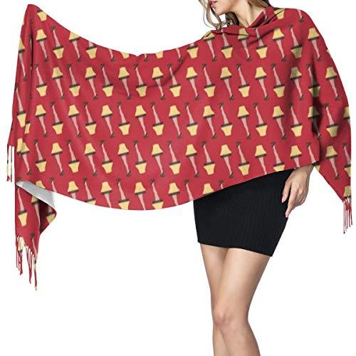 Liliylove Weihnachts-Retro-Bein-Lampe auf rotem Schal, super weich mit Quaste, modisch, warm, groß, Winter-Stola für Damen