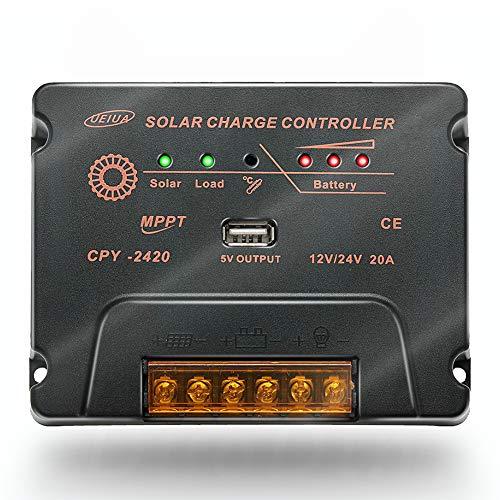 20 A MPPT Solarladeregler für 12 V/24 V Batterieladegerät-Regler mit USB-Ausgang, Überlast und Everse-Polaritätsschutz