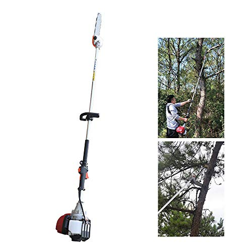 Gas Pole Saw 37CC 4-Stroke Gasoline Chainsaw Pruner Powerful Cordless Long Reach Tree Trimmer Trimming Pruning Chain Saw Long Extension Pole Saw 37CC 4-Stroke Gasoline Engine)
