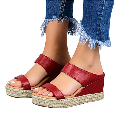 Zapatilla de Plataforma con cuña para Mujer,Sandalias Casuales de tacón con Pendiente...