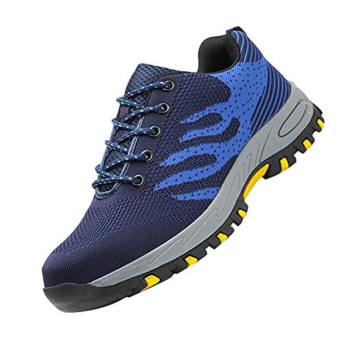 Hombres Zapatillas Deporte industriales,Ligeras Colchón de Aire Zapatos de Seguridad Trabajo Punta de Acero Calzado de Seguridad Deportivo,Blue▁38