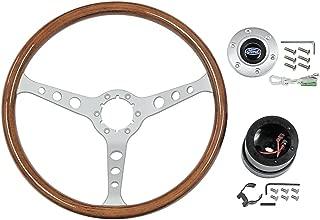 """Steering Wheel Kit 3-Spoke 15"""" Walnut Grip Fits 1965-67 Mustang Fairlane Falcon Galaxie LTD & Station Wagons (STW102S6)"""