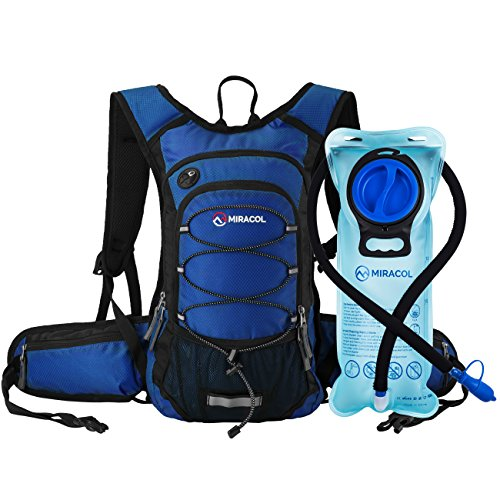 MIRACOL Hydration Backpack with 2L BPA Free Water Bladder, Thermal Insulation Pack Keeps Liquid Cool up to 4 Hours, Perfect Outdoor Gear for Hiking, Cycling, Camping, Running (Pure Blue)