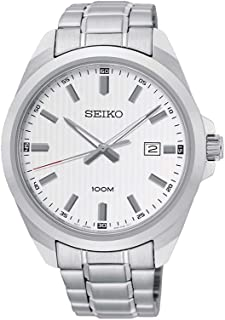 Seiko Classic Men's White Dial Solid Stainless Steel Quartz Watch - Sur273P1, Analog Display