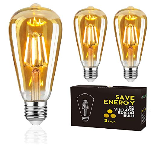 E27 LED Edison Glühbirne, Woowtt LED Vintage Glühbirne, 4W LED Filament Retro Glühbirne, Antike Amber Warm Licht Lampe, 400 Lumen, ST64, 4W(40W Äquivalent) - 3 Stück