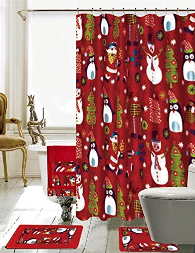 Season's Greetings 18 Piece Embroidery Bath Set 1 Bath Mat , 1 Contour Mat , 1 Shower Curtain , 12 Matching Roller Shower Hooks , 3 Piece Matching Towel Seat Small to Large (18 Piece,Merry Christmas)