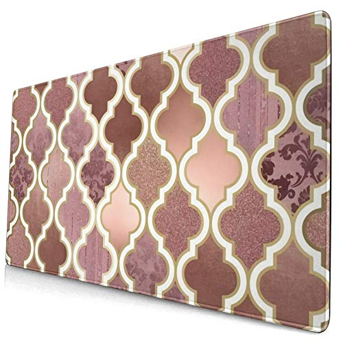 Gaming Mouse Mat,Rosegold Pink And Copper Moroccan Tile 15.8x29.5 in Large Comfortable Extend Mouse Pad Non-Slip Rubber Base Mouse Mat for Laptop Gamers Office PC Desk