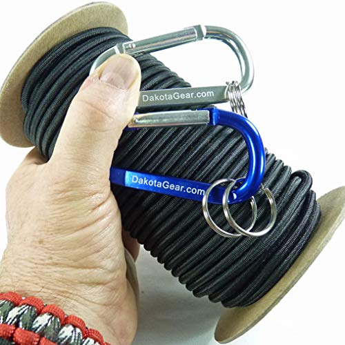 """Dakota Gear (TM) Shock Cord - Cosmic Black 3/16"""" x 25 ft. Hank. Marine Grade. Also Called Bungee Cord, Stretch Cord & Elastic Cord. Made in USA. 2 Carabiners and Knot Tying eBook."""