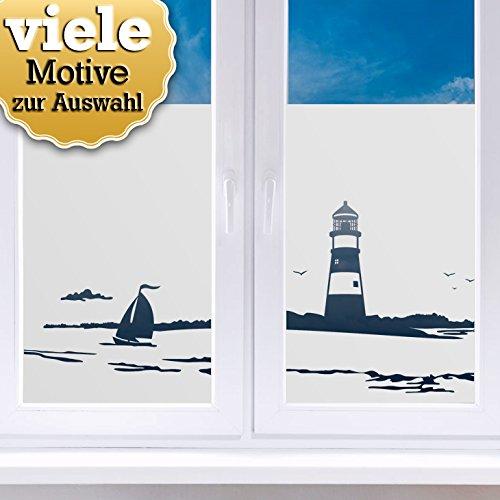 Wandaro Sichtschutzfolien I Motiv 19: Leuchtturm I Wohnzimmer Schlafzimmer Zimmer Fensterfolie Fenster Fenstersticker Milchglas Folie W3371