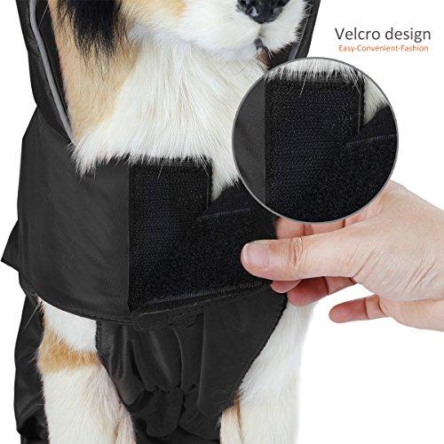 SelfLove Hundemantel aus 100% Wasserdicht Nylon Fleece Futter Jacke Reflektierende Hundejacke Warm Hundemantel Climate Changer Fleece Jacke einfaches An- und Ausziehen(L Schwarz) - 9
