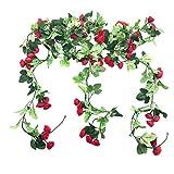 Sprießen Artificial Flores de Seda Rojo Vine Flor Planta de CañA de RatáN para Colgar Guirnalda Colgar en La Pared Boda Fiesta JardíN BalcóN DecoracióN/Cercas Hogar Interior Partido Decoración