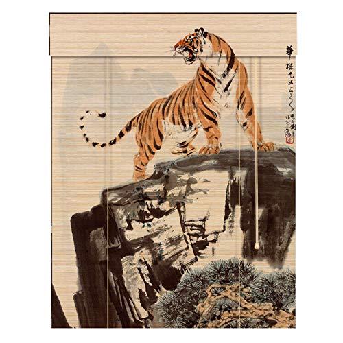 YILANJUN Natural Estores de Bambú,Personalización de Soporte,Artesanía Ingeniosa,Cortina Persiana Enrollables con Estampado de Tinta,Alta Practicidad y Decoración,13 Tipos