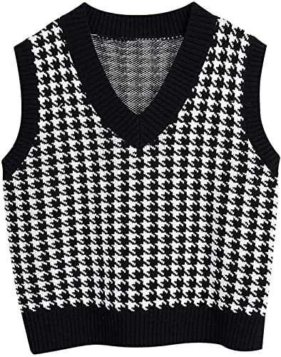 FRMUIC Women's Houndstooth Top Vest Knitted Shirtv Neck Sleeveless Pullover European and American Fashion Sweater (XX-Large, Black)