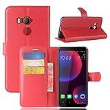 LMFULM® Hülle für HTC U11 Eyes (6,0 Zoll) PU Leder Magnetverschluss Brieftasche Lederhülle Handytasche Litschi Muster Standfunktion Ledertasche Flip Cover für HTC U11 Eyes Rot