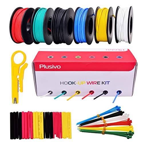 20AWG Silikon Elektronik Kabel Set Haken Draht - 20 Gauge litze verzinnter Kupferdraht mit flexible Silikonisolierung, 6 Farben (schwarz, rot, gelb, grün, blau, weiß)