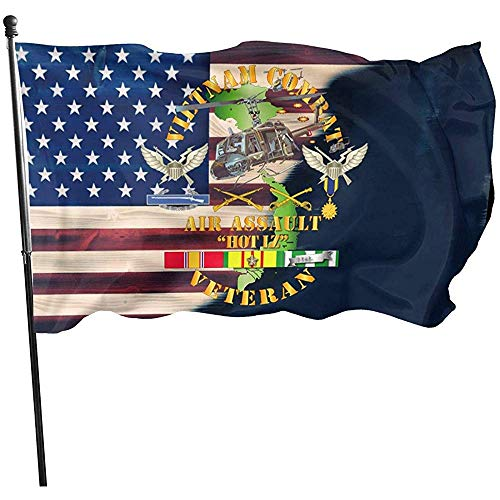 AmyNovelty Family Flag,Vietnam Combat Veteran W Hubschrauber Assault Flag Stilvolle Saisonale Gartenflaggen Für Family Garden Party 90 * 150cm