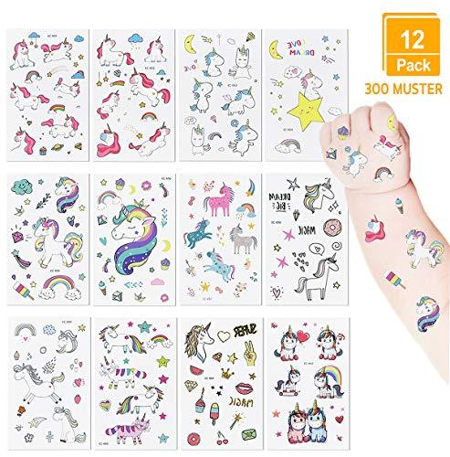 Tattoo Kinder, [12 Pack] Einhorn Tattoos Gastgeschenke für Kinder Mitgebsel Kindergeburtstag