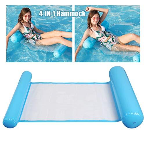 N/ Aufblasbares Schwimmbett, Pool Wasser-Hängematte Loungesessel Luftmatratze, Home Chair Schwimmende aufblasbare Kopf und Trittbrett Float Bed Tragbar Wasserhängematte für Erwachsene, Blau