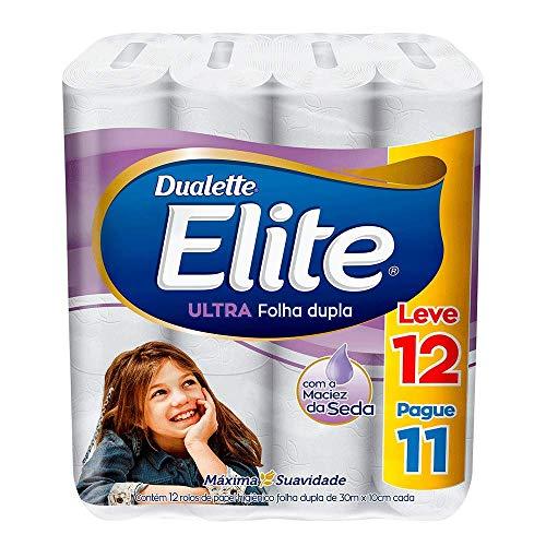 Papel Higiênico Elite Duallete Folha Dupla Ultra, 12 rolos