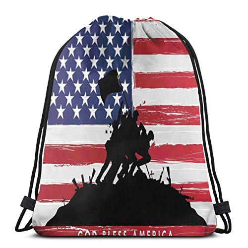 Odelia Palmer Mochilas Estampadas con cordón, Bless America Siluetas de la Bandera Estadounidense de EE. UU. Fondo Valor Patriot Theme, Cierre de Cuerda Ajustable