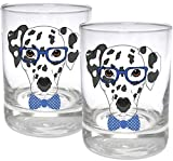 Circleware Dalmatian Dogs Double Old Fashioned Whiskey, Set of 2 Kitchen Drinking Glasses Glassware for Water, Juice, Beer and Best Bar Barrel Liquor Dining Decor Beverage Gifts, 11.25 oz, Blue