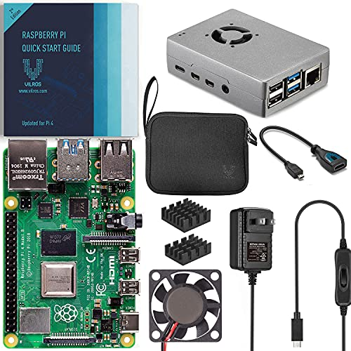 Vilros Raspberry Pi 4 4GB Basic Starter Kit with Fan Cooled Heavy Duty Aluminum Alloy Case (4GB Ram, Silver)