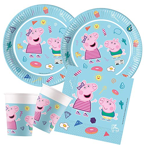 Procos- Set de Fiesta de Peppa Pig Star Shine, compostable (10136145B)