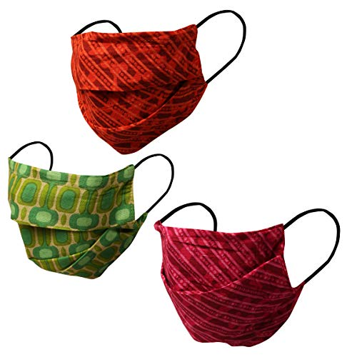 Touchstone Fashion Print Filter Pocket Nose Bridge Double Layer Cotton Face Mask Reusable Machine Washable for Men, Women (Pack of 3). Pink Green Orange
