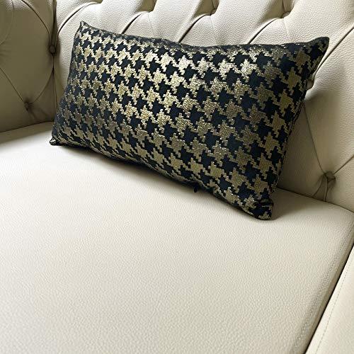 Almofada Retangular Luxo Pied Poule Preto e Dourado 50x28cm