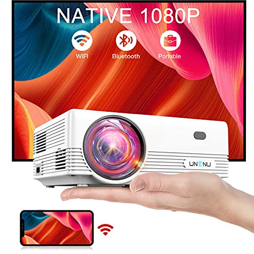 """UNENU Native 1080P WiFi Bluetooth Projector,8500L Full HD Mini Projector,Portable Outdoor Movie Projector,Support 4K,Zoom,300"""",Wireless Mirroring Projector,Suitable for iOS/Android/TV Stick/Laptop"""