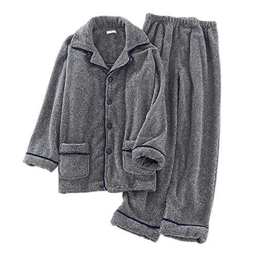 LEYUANA Pyjama,Verdicken Flanell Männliche Pyjamas Sets, Winter warm halten Langarm...