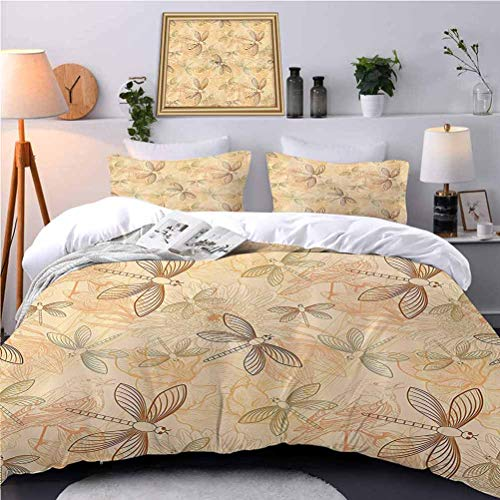UNOSEKS LANZON Bedding Duvet Cover Set Vintage Style Birds and Dragflies Art with Modern Doodles Chic Animal Inspire Retro Printing Bedding Set Enjoy a Great Night's Sleep - Twin Size