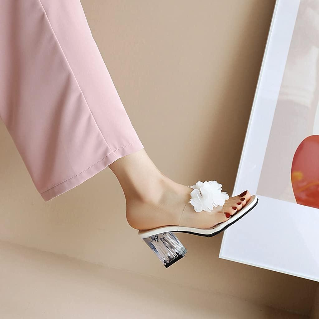 MIOKE Womens Clear Block Heel Slide Sandals Open Toe Slip On Cross Strap Nonslip Chunky High Heeled Sandal