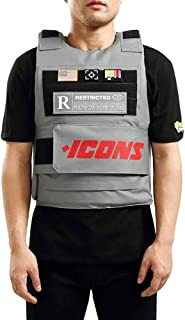 Men's Icon Fashion Vest with Adjustable Velcro Straps and Patches, Grey
