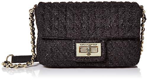 Karl Lagerfeld Paris Damen Woven SM Agyness Crossbody-Tasche, klein, Webmaterial, Black Multi Boucle, Einheitsgröße