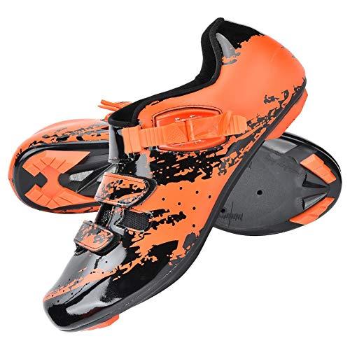 Alomejor Zapatillas de Ciclismo de montaña Zapatos Micro Ajustable Bicicleta Spinning Road Bike Shoe (39-Naranja)