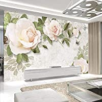 3D壁紙壁画現代手描き花油絵ヨーロッパスタイルのリビングルームテレビの背景壁の壁画の装飾-400x280cm