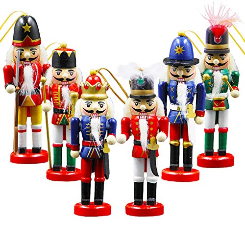 Joliyoou Wooden Christmas Nutcracker, 6 Pcs Mini Soldier Figurines 5.1 inch Nutcracker Ornaments for Xmas Gifts