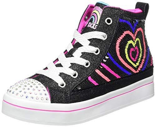 Skechers Mädchen TWI-Lites 2.0 Sneaker, Schwarzer Stoff, Mehrfarbig, H mit pinken Rändern, 36 EU