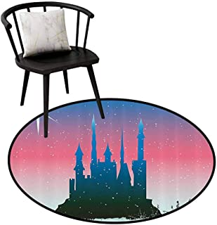Absorbent Round Rug Fantasy for Bedroom Silhouette of Medieval Fairytale Castle with Stars on Sky Princess Design Blue Dark Coral D31(80cm)
