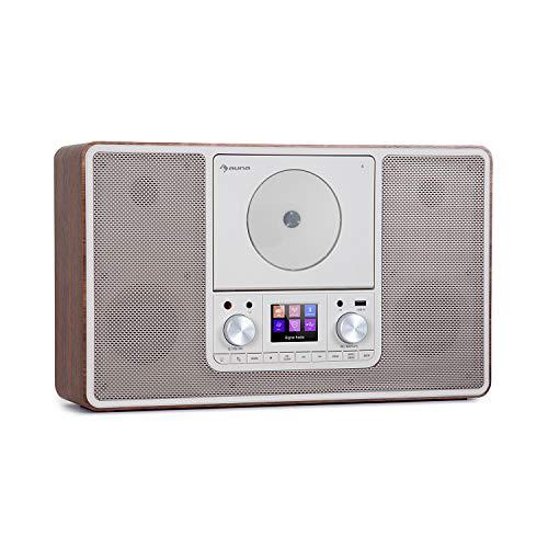 auna Scala VCD - Radio Digital, Sintonizador Dab/Dab+, Receptor FM, Bluetooth, Reproductor CD, Puerto USB, AUX, 2 x 10 W RMS, Posible Montaje en Pared, Pantalla TFT 2,4'', Luz LED Ambiental, Marrón