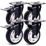 H&S 4 Castor Wheels Heavy Duty 600KG 100mm PU Rubber Swivel Trolley Furniture Caster with Brakes Black