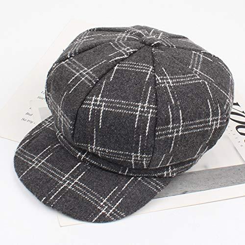 XFGBTJKYUT XFGBTJKYUT Weibliche Hut-Mode-England-Retro-Gitter-achteckige Kappen-Freizeitkappe Autumn Student Style (Color : Gray, Size : Adjustable)