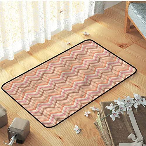 Indoor Outdoor Bath Mat Bathroom Rug Carpet Peach Zigzag Vintage Design Durable, 35 x 23.5 inch