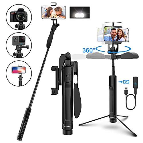 ELEGIANT Bastone Selfie Wireless, Asta Selfie Stick Bluetooth con Treppiede Luce LED Impugnatura per bilanciamento video a 360 ° per 3,7-6,8 Pollici C